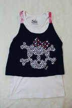 Justice Girls Top Size 14 Red Blue White Glitter Star Skull Tank Top Lay... - $19.79