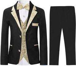 Boys Slim Fit Suits 5 Pieces Blazer Vest Shirt Pants Bowtie Jacket With ... - $61.72