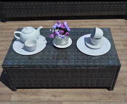 Outdoor Rattan Wicker Sofa Garden Coffee Seating Armchairs Set Cushioned Brown image 4