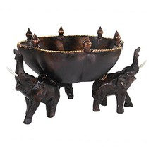 AeraVida 8 inches Triumphant Elephants Carved Rain Tree Wooden Bowl - Fa... - $42.13