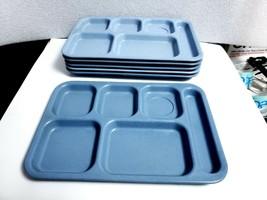 6 Vtg TEXAS WARE Dallas Ware BLUE Speckled MELAMINE Melmac Divided LUNCH... - $21.78