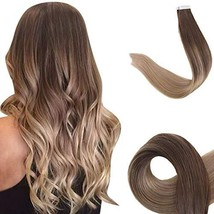 Easyouth Seamless Skin Weft Tape in Hair 18inch Balayage Color 4 Fading to 18 An