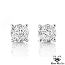Round Cut Diamond 14k White Gold Plated Pure 925 Silver Solitaire Stud E... - $36.99