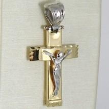 PENDENTIF CROIX OR JAUNE BLANC 750 18K, AVEC LE CHRIST, AU CARRÉ, MADE IN ITALY image 1