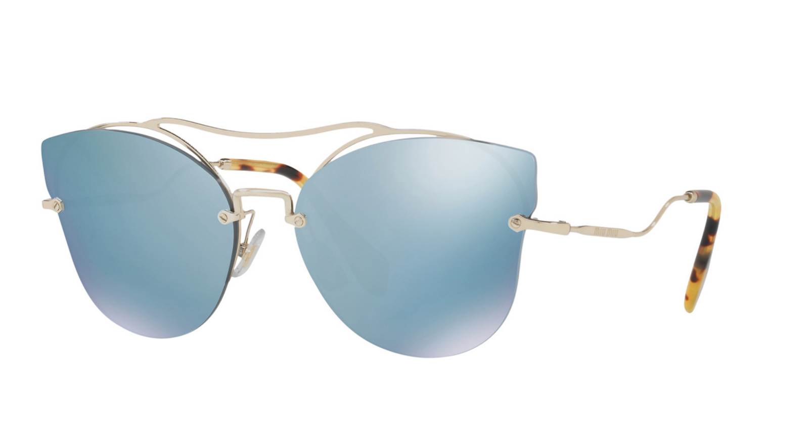 dba1ee89fe15a 57. 57. Previous. Miu Miu SMU 52S ZVN-5Q0 Sunglasses Pale Gold Frame Blue  Mirror White Lenses 62mm