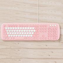 Actto KBD58 Korean English Membrane Keyboard USB Wired Typewriter Design (Pink) image 4