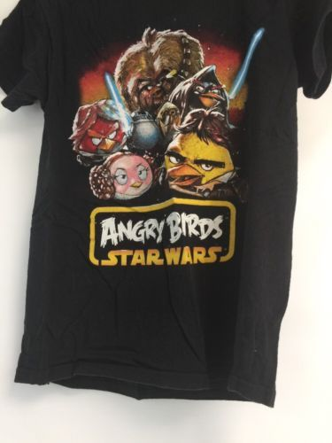 Angry Birds Star Wars Men S Small T-Shirt Chewy Light Saber Graphic Tee Game