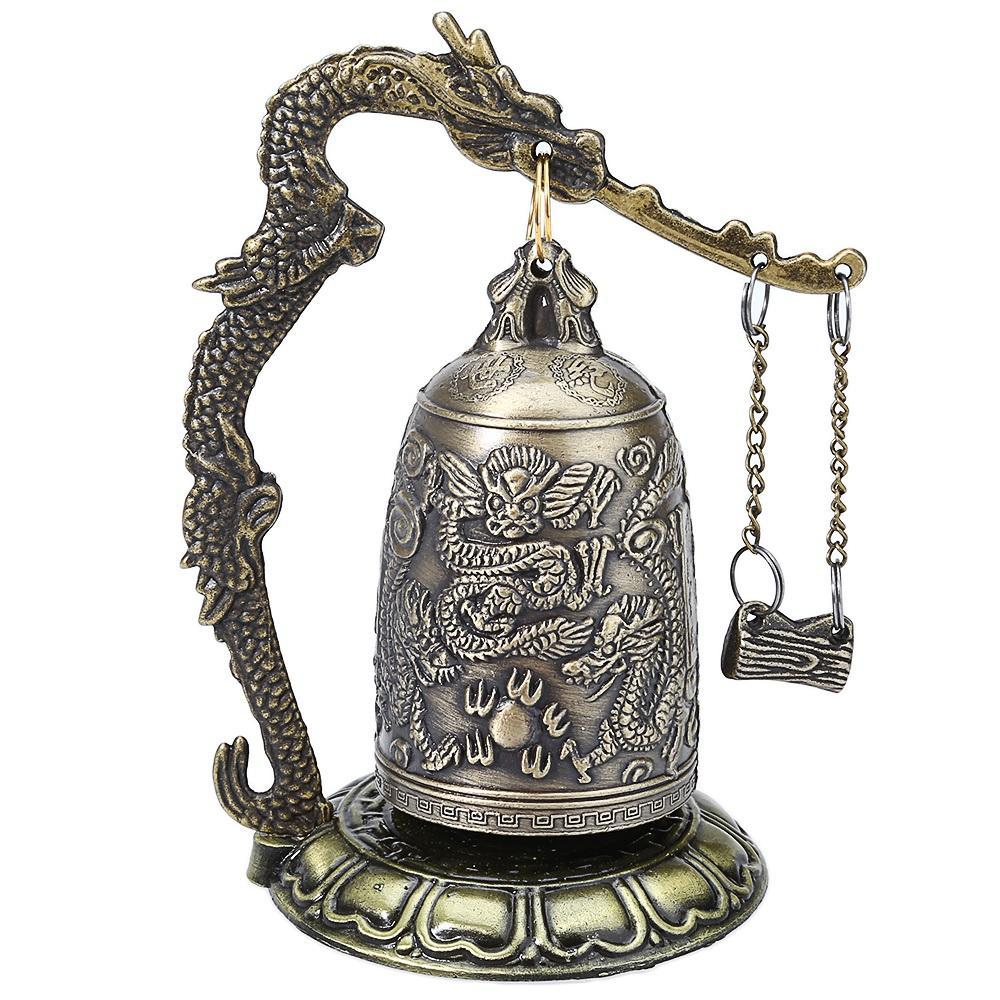 Zinc Alloy Vintage Style Bronze Lock Dragon Carved Buddhist Bell Chinese Geomant