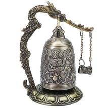 Zinc Alloy Vintage Style Bronze Lock Dragon Carved Buddhist Bell Chinese Geomant image 1