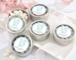 Personalized He Asked She Said Yes! Candy Tin Engagement Party Favor Con... - $63.61+