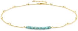 18K Gold Satellite Beaded Curb Ball Chain Choker Turquoise Beads Bar Nec... - $41.64