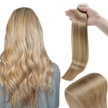 RUNATURE Tape in Human Hair Extensions 20 Inches Color 16 Golden Blonde 50g 2.5g