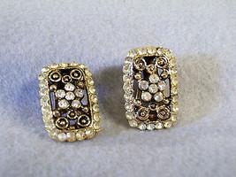 Rhinestone FILIGREE ANTIQUED Gold Plate Clip Earrings Rectangle FLOWER V... - $16.82