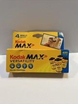 Kodak Max Versatility 400 Color Film 35mm 4 Roll Pack 24 Exposure Sealed Exp2001 - $16.78