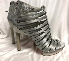 BCBG MAXAZRIA SHOES  High Heel gray shiny satin straps Size: 9/39 - $28.04