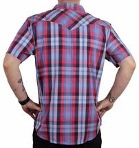 NEW LEVI'S MEN'S COTTON CASUAL BUTTON UP SHORT SLEEVE SHIRT PLAID RED-3LYLW6082 image 3