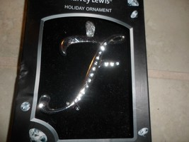 Harvey Lewis Holiday Ornament Letter F silver plate with Swarovski Elements NIB - $7.35