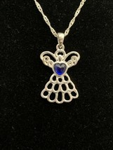 New Mary Birthstone Angel Necklace September Sapphire Color (1674) - $10.00