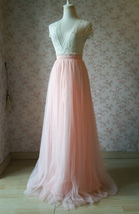 Women Blush Tulle Skirt Full Long Tulle Skirt, Blush Pink, High Waisted, Wedding image 3