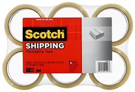 Scotch Lightweight Shipping Packaging Tape, 1.88 Inches x 54.6 Yards, 6 ... - $15.71