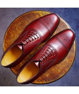 Handmade Burgundy Cap Toe Brogue Leather Shoes, Mens Dress Elegant Lace ... - $159.97+