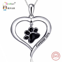Silver Enamel Cat Dog Paw Necklace Girl Chain Sterling Love Heart Neckla... - $42.36