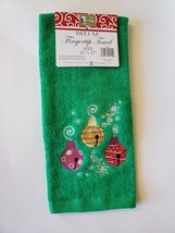 Holiday Fingertip Towel, Embroidered, Green Velour, Christmas Ornaments image 2