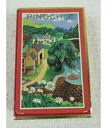 Whitman Imperial Plastic Coated Village Themed Pinochle Playing Cards Vi... - $9.90