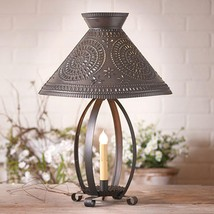 BETSY ROSS kettle black TIN table lamp w/ tin shade / nice /FREE SHIP - $140.24