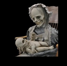 Halloween Rocking Mother & Baby LULLABY Skeleton ANIMATED PROP Eerie CD ... - $529.98