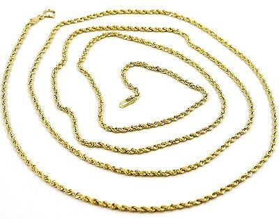 18K YELLOW GOLD CHAIN NECKLACE, BRAID ROPE LINK 31.5 INCHES, 80 CM MADE IN ITALY