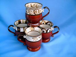 VINTAGE Set Of 4 Brown Pedestal Cup Designer Decor Coffee Mugs Japan Sto... - $24.00