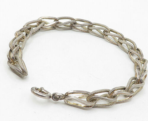 925 Sterling Silver - Vintage Textured Double Looped Chain Bracelet - B4595