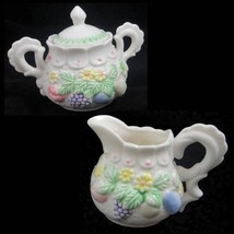 Vintage Porcelain Sugar Bowl and Cream Pitcher Flowers Fruit Scalloped H... - $3.99