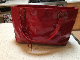 French Essential: The Red Bag Vintage Patent Red Nieman Marcus Tote EUC