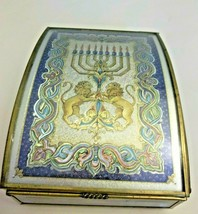 Music Box Hatikvah Hanukkah Lions Peggy Lee Toole Artwork Glass Brass 1993 - $47.52