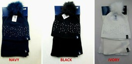 U.S. Polo Assn. Women's Knit Scarf & Pom Pom Hat Set Navy Black Ivory Ne... - $9.85+