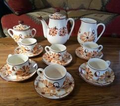 Vintage 17 Pc Hand Painted Ceramic Pottery Brown Floral Tea Coffee Set U... - $28.66