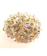 Vintage Aurora Borealis Crystal Bead Rhinestone Cluster Silver Brooch Pi... - $32.66