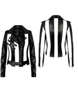 New Women's Black Stylish Slim Fit Leather White Stripes Jacket QWLJ05 - $169.00+