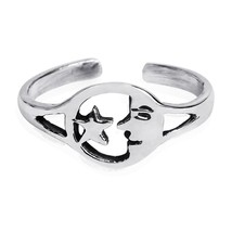 925 Sterling Silver Good Night Moonface Star Adjustable Toe Pinky Ring - $12.69
