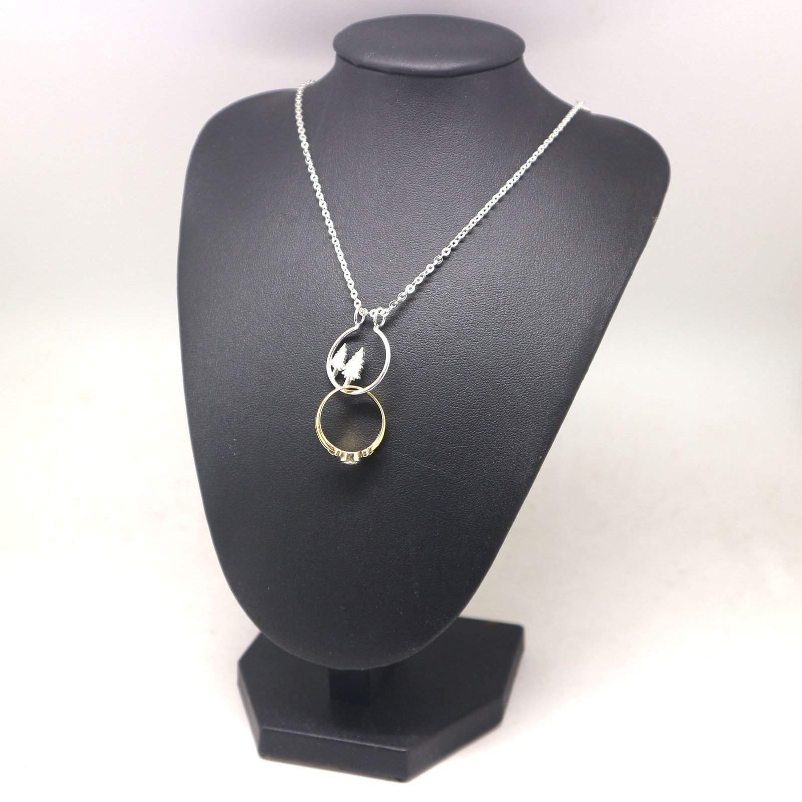 Silver Pine Tree Ring Holder Necklace image 6