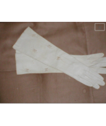 Vintage off-white French Kid Leather Long Gloves embroidered with Butter... - $76.23