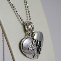 ROBERTO GIANNOTTI 925 SILVER BALLS CHAIN DOUBLE HEART ANGEL PENDANT MADE ITALY image 1