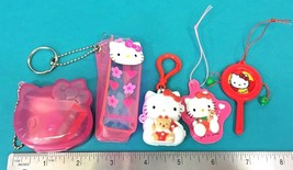 Vintage Sanrio Hello Kitty 5 Keychain Mini Trinket Toys Plastic Cases Lo... - $28.95