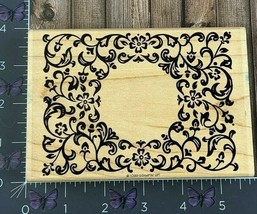 Stampin' Up! Flourish Frame Flowers Background Rubber Stamp 1999 Wood #W87 - $8.42