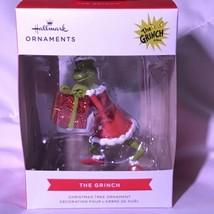 Hallmark 2021 Dr Seuss The Grinch Holding Glitter Present Red Box Ornament - $24.95