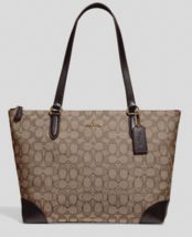 New Coach 29958 Outline Signature Zip Tote Jacquard handbag Khaki / Brown - $94.16