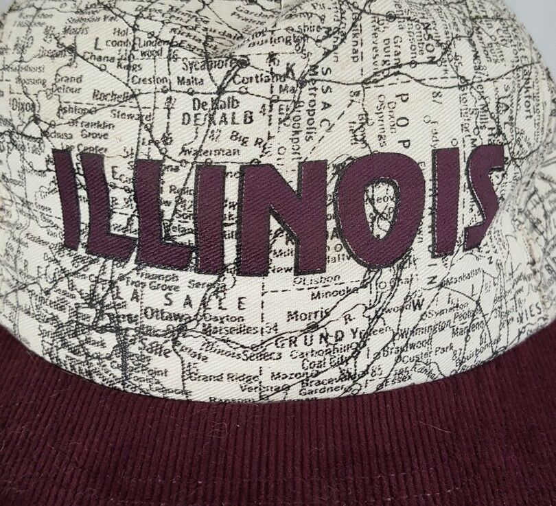Vtg Illinois Map Snapback Hat Cap Corduroy Bill IL Roadmap Burgundy Made in USA image 3