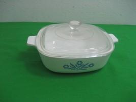 1 Qt Blue Cornflower White Corning Ware Casserole Dish P-1-B & Glass Lid - $13.06